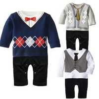 BEINGQ Fashion Baby Boys Girls Gentleman Necktie Bowknot Grid Rompers Jumpsuits Sets
