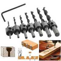 7pcs 3mm-10mm 5 Flutes Countersink Drill Bit Set HSS Carpentry Reamer Woodworking Chamfer Drill