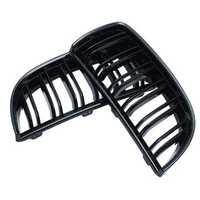 Pair Gloss Black Double Slat Sport Kidney Grille Grill Set For BMW E90 E91 05-08