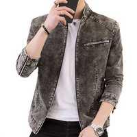 Vintage Fashion Stand Collar Zipper Spring Slim Denim Jacket