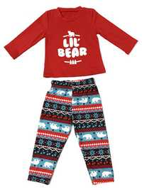Bear Print Christmas Parent-Child Home Tracksuit Set
