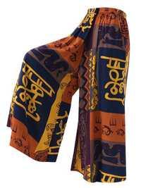 Plus Size Vintage Printed Elastic Waist Wide Leg Loose Pants
