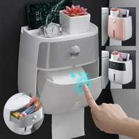 Toilet Paper Holder Wall Mounted Self Adhesive Tissue Paper Holder Box For Roll Paper Kitchen Paper Tissue Paper