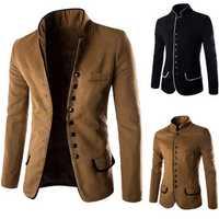 Retro Gentleman Unique Stand Collar Single Breasted Edging Suit Coat