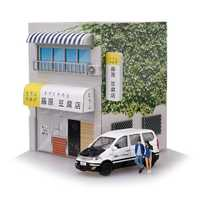 1/64 Initial D Tofu Shop With LED Light Yumebox Display Scene Tomica DIY Action Figure Kit Toy