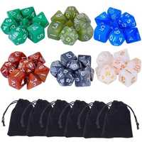 42 Pcs Polyhedral Board RPG MTG Game Dice 6 Sets 4D 6D 8D 10D 12D 20D + 6 Pouch