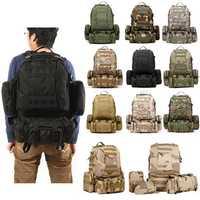 55L Military Tactical Army Backpack Rucksack Camping Hiking Trekking Bag