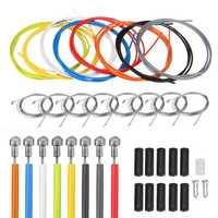 BIKIGHT 2m Bike Bicycle Front Rear Inner Outer Wire Brake Gear Shifter Cable Cycling Repair Kit Multicolor