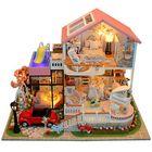Meilleurs prix DIY Wooden Miniatures Pink Villa Dollhouse Furniture LED Kit Child Toys Gift