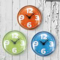 Colorful Bathroom Clock Glass Tile Wall Window Mirror Waterproof Clock With Sucker