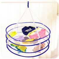 2 Layers Clothes Drying Rack Drying Laundry Bag Folding Hanging Hanger Clothes Laundry Basket
