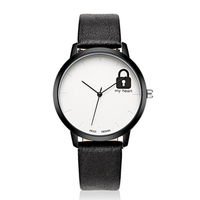 Fashion Cute Lock Pattern Leather Strap Children Quartz Watch Student Watch