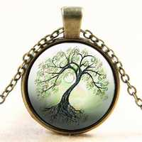 Tree Glass Cabochon Necklace Bronze Chain Pendant Necklace