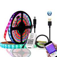 DC5V 1M 2M WS2812B 5050 bluetooth USB APP Control RGB Individually Addressable LED Strip Light Kit