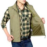 NIANJEEP Mens Casual Outdoor Detachable Back Multi Pockets Stand Collar Vest