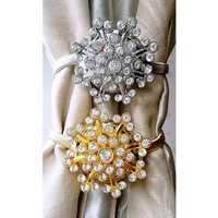 1 Pair Magnetic Crystal Flower Curtains Tiebacks Tie Backs Buckle Clips Holdbacks