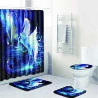 Bathroom Horse Shower Curtain Toilet Cover Mat & Pedestal Rug Mat & Bath Nonslip Mat