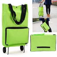 Green Protable Shopping Trolley Tote Bag Foldable Cart Rolling Grocery Wheels Kitchen Food Holder