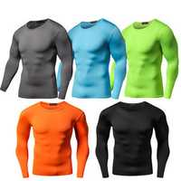 Mens Pro Sports Training Long Sleeved Tees Breathable Quick Drying Elastic Tight Running T-shirt