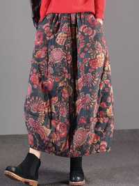Women Vintage Floral Print Elastic Waist Baggy Long Skirts
