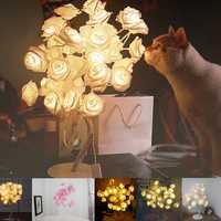 24 LED Rose Flower Table Lamps Desk Night Light Decorative Indoor Bedroom