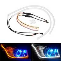 2PCS 60cm Switchback LED Strip Light Headlight DRL Turn Signal Guide Lamp Dual Color