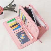 Women PU Leather Functional Casual Clutch Card Holder Wallet Purse