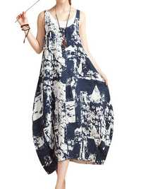 O-NEWE Chiness Style O-neck Sleeveless Floral Printed Dresse