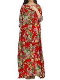 Retro Floral Printed Floor-Length Dress