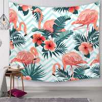 Flamingo Tapestry Wall Blanket Plants Flower Polyester Tablecloth Wall Hanging Table Runner Home
