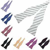 PenSee Men's Bow Ties Leisure Stripe Paisley Jacquard Woven Silk Neckties Accessory