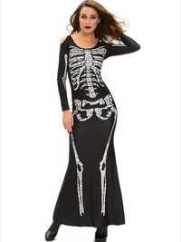 Halloween Skeleton Cold Shoulder Long Sleeve Dress