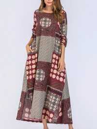 Ethnic Floral Print Patchwork Long Sleeve Dress