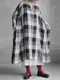 S-5XL Women Cotton Loose Plaid V-Neck Long Sleeve Dress