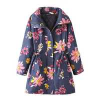 Vintage Women Lapel Long Sleeve Floral Printed Thicken Trench Coat