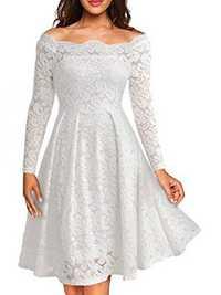Women Lace Hollow Out Off Shoulder Mid Long Dress