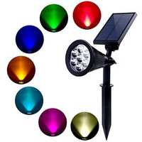 Solar Lights Outdoor 7 LED Solar Outdoor Color Changing Wall Light 180° Adjustable Garden Light