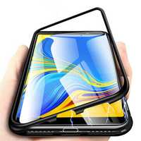 Bakeey™ Magnetic Adsorption Flip Metal Frame Tempered Glass Back Cover Protective Case for Samsung Galaxy A7 2018