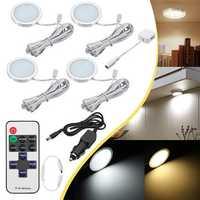 4pcs 12V LED Recessed Down Cabinet Light RV Ceiling Roof Camper Trailer Boat Lamp