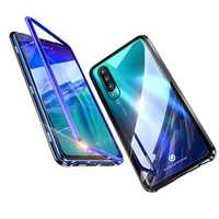 BAKEEY Magnetic Adsorption Upgraded Version Metal Bumper&Tempered Glass Flip Protective Case for HUAWEI P30