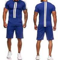 Mens Short Sleeve Casual Sport Suit Athleisure Sportswear
