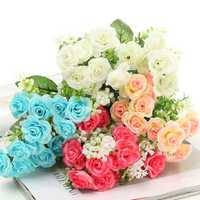 15 Head Artificial Rose Simulation Flower Leaf Bouquet Home Wedding Party Garden Decoration
