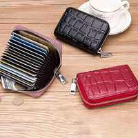 Women Genuine Leather Stone Pattern 16 Card Slots Wallet