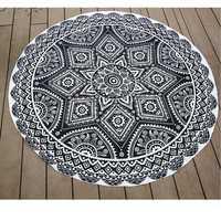 145cm Black Print Thin Chiffon Beach Yoga Towel Mandala Round Tablecloth Bed Sheet Tapestry