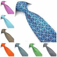 PenSee Mens Tie Jacquard Woven Silk Geometric Grid Pattern Necktie-various Colors