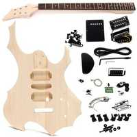 DIY Electric Guitar Basswood Wood Body Unfinished Kit Set with Neck String