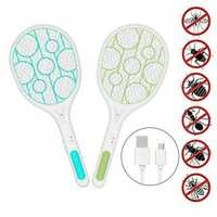 Electric Fly Swatter Fly Bug Zapper Racket Mosquito Swatter Pest Insects Control USB Rechargeable LED Lighting Pests Control