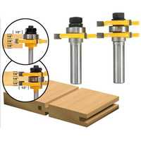 2pcs 1/2 Inch Shank Tongue & Groove Router Bit Set 3 Teeth T-shape Wood Milling Cutter