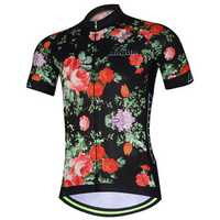AOGDA Men Women Rose Short Sleeve Cycling Jersey Outdoor Sports Summer Polyester Mesh Breathable