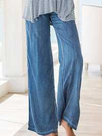 Casual Women Faux Denim Wide Leg Pants